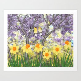 goldfinches, lilacs, & daffodils Art Print