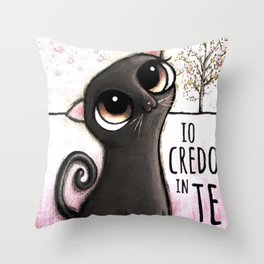 Black cat with big eyes Throw Pillow