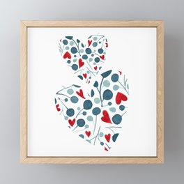 Watercolor leaves hearts composition   Framed Mini Art Print