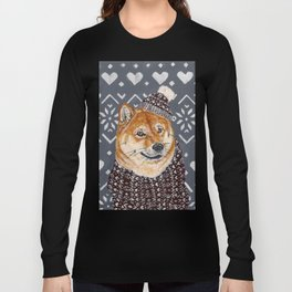 Shiba Inu in a  Hat and Scarf Long Sleeve T-shirt
