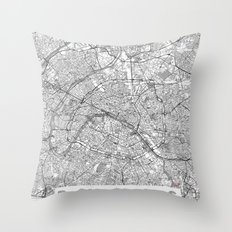 Paris Map Line Throw Pillow