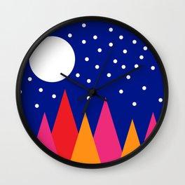 Moonlit Christmas Trees Wall Clock