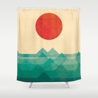 sleeping beauty Shower Curtains featuring The ocean, the sea, the wave by Picomodi