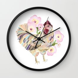 Colorful Girly Hen Wall Clock