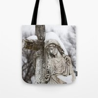 religious Tote Bags featuring Religious Statue by Legends of Darkness Photography