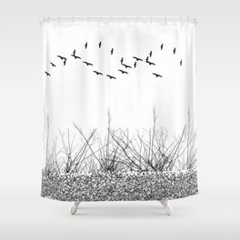 black and white winter landscape Shower Curtain