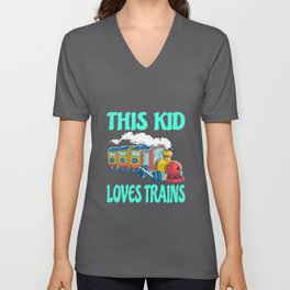 This Kid Loves Trains Kids Gift Idea Motif Unisex V-Neck