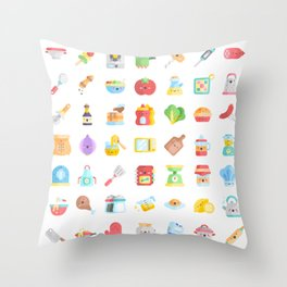 CUTE COOKING PATTERN Throw Pillow