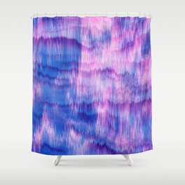 Modern Abstract Electric Blue Pink Watercolor Ikat Shower Curtain