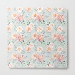 Pink roses, peonies on the gray Metal Print