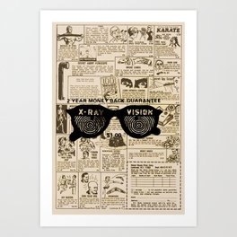 Vintage Comic Book Classified Ad Print with X-Ray Specs Art Print