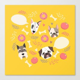 Cute dog illustration color card with cloud place for your text Canvas Print