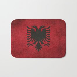 Old and Worn Distressed Vintage Flag of Albania Bath Mat