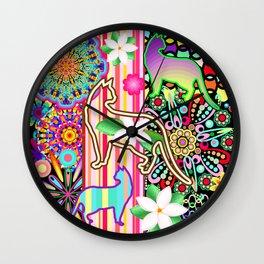 Mandalas, Cats & Flowers Fantasy Pattern Wall Clock