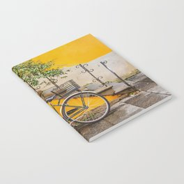 Bicycle Parked at Wall, Lucca, Italy Notebook