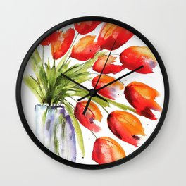Tulips Overflowing Wall Clock