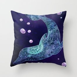 Cosmic Dolphin Throw Pillow