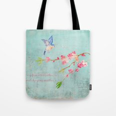 My favorite weather - Romantic Birds Cherryblossoms and Spring Typography on aqua Tote Bag