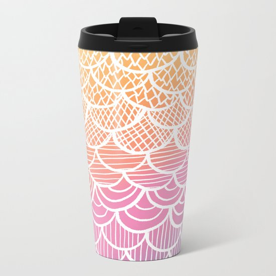 Modern hand drawn summer geometric mermaid scallop pink orange ombre watercolor Metal Travel Mug