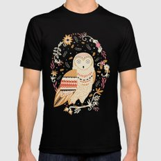 Snowy Owl Mens Fitted Tee Black 2X-LARGE