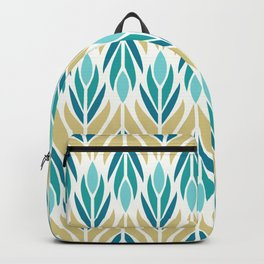 Mid Century Modern Abstract Floral Pattern in Turquoise Teal Aqua and Marigold Backpack