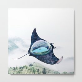 Space Manta Ray Metal Print