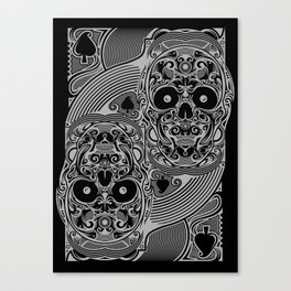 Ace of Spades Silver Skull Playing Card Canvas Print