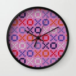 XOXO pattern - pink Wall Clock