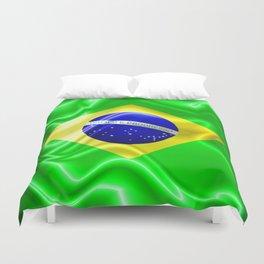 Brazil Flag Waving Silk Fabric Duvet Cover