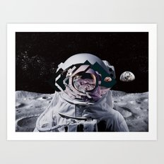 Spaceman oh spaceman, come rescue me (teal) Art Print