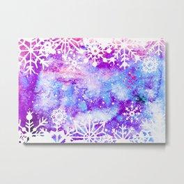 Purple Painted Merry Christmas Snowflakes Metal Print