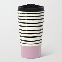 Dusty Rose & Stripes Metal Travel Mug