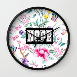 NOPE - white floral pattern Wall Clock