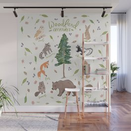 Woodland Creatures Chart Wall Mural