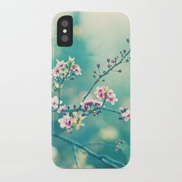 Turquoise Teal Pink Floral Photography, Aqua Flower Nature Art iPhone Case