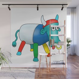 Steel Drum Colourful cow. Wall Mural