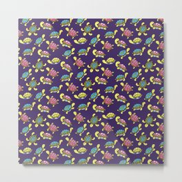 Turtles on purple Metal Print