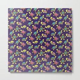Turtles on purple Metal Print