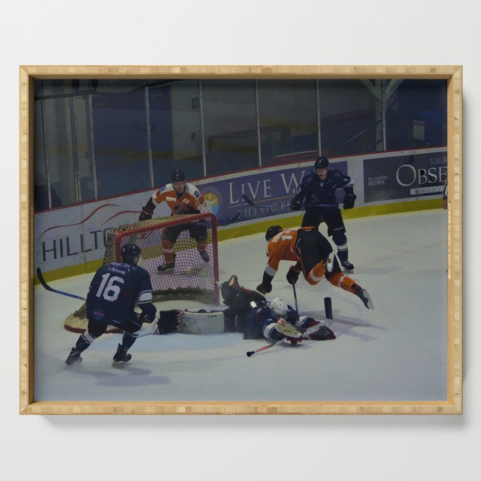Dive for the Goal - Ice Hockey Serving Tray