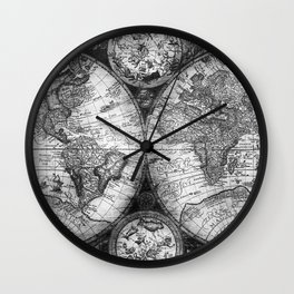 World Map Antique Vintage Black and White Wall Clock