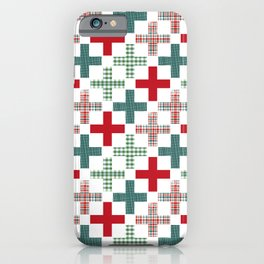 Swiss cross christmas minimal pattern red and green holiday festive pattern gifts iPhone Case