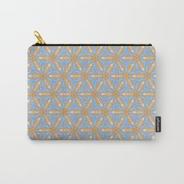 Patterns: Blue Orange Flowers Carry-All Pouch