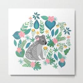 Floral Koala Metal Print