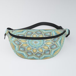 Cyan & Golden Yellow Sunny Skies Medallion Fanny Pack
