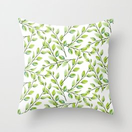 Branches and Leaves Throw Pillow