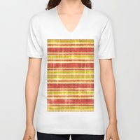 fabric V-neck T-shirts featuring Decorative fabric by Zenya Zenyaris