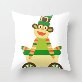 Sock Monkey Leprechaun Saint Patricks Day Irish Sock Monkey Throw Pillow