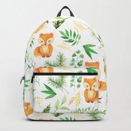 Hand painted cute brown fox watercolor green floral leaves Backpack