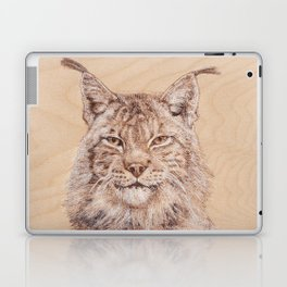 Lynx Portrait - Drawing by Burning on Wood - Pyrography Art Laptop & iPad Skin