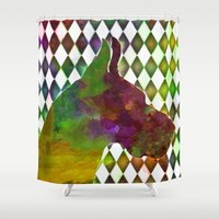 great dane Shower Curtains featuring Great Dane Jester by Erin Conover